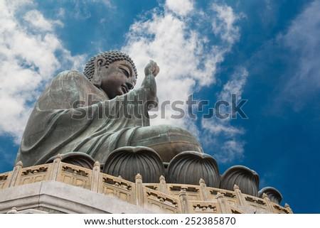 Beautiful view of the Giant Buddha in Hong Kong, China - stock photo