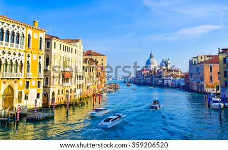 Beautiful view of the Grand Canal in Venice, Italy - stock photo