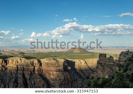Beautiful view of the Grand Canyon National Park at sunset from the south rim at desert view point in Arizona, USA