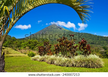 Beautiful view of the green side of the Arenal volcano, Costa Rica.