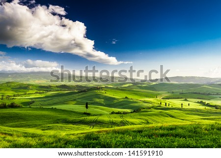 Beautiful view of the green valley at sunset, Tuscany - stock photo