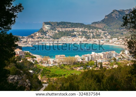 beautiful view of the harbor of Port de Soller town, Majorca, Spain - stock photo