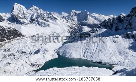 beautiful view of the Himalayas from Gokyo Ri  - stock photo