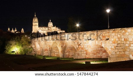 Beautiful view of the historic city of Salamanca with New Cathedral and Roman bridge, at night, Castilla y Leon region, Spain - stock photo