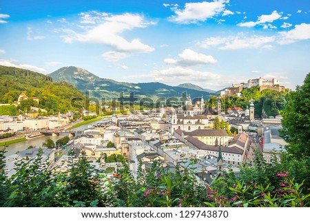 Beautiful view of the historic city of Salzburg with Festung Hohensalzburg in spring, Salzburger Land, Austria - stock photo