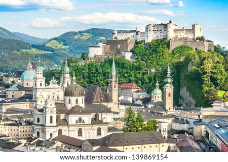Beautiful view of the historic city of Salzburg with Festung Hohensalzburg in summer, Salzburger Land, Austria - stock photo
