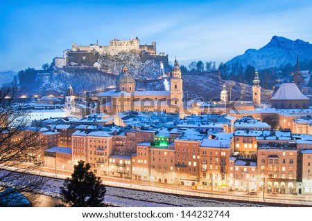 Beautiful view of the historic city of Salzburg with Festung Hohensalzburg in winter as seen from Kapuzinerberg, Salzburger Land, Austria - stock photo