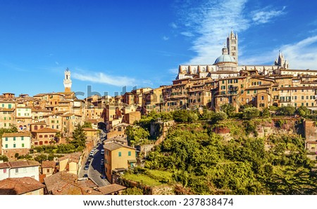 Beautiful view of the historic city of Siena. Tuscany, Italy