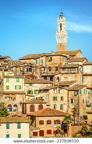 Beautiful view of the historic city of Siena. Tuscany, Italy - stock photo