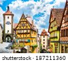 Beautiful view of the historic town of Rothenburg ob der Tauber, Franconia, Bavaria, Germany - stock photo
