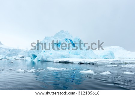 Beautiful view of the ice of Antarctica - stock photo