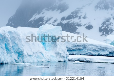 Beautiful view of the ice of Antarctica