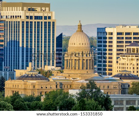 Beautiful view of the Idaho Capital building with downtown - stock photo
