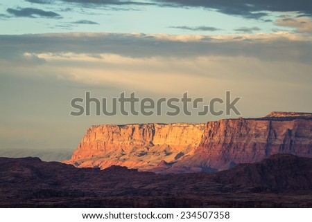 beautiful view of the landscape early morning in Page Arizona with a cloudy sky