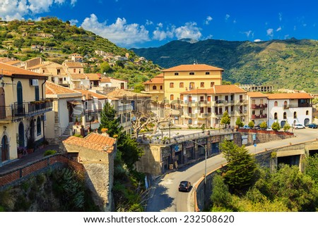 beautiful view of the little town Savoca - the city of Godfather film, Sicily, Italy - stock photo