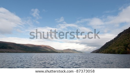 Beautiful view of the Loch Ness at water level - stock photo