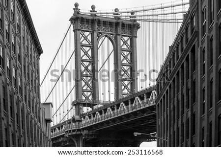 Beautiful view of the Manhattan Bridge - stock photo