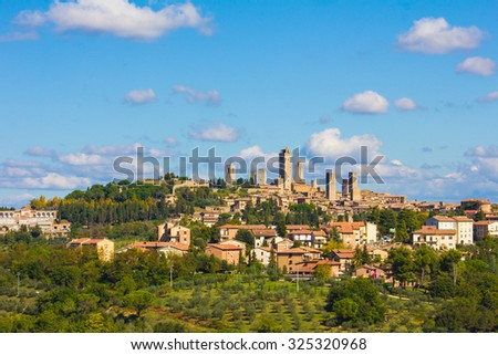 Beautiful view of the medieval town of San Gimignano, Tuscany, Italy - stock photo