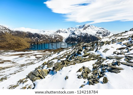 Beautiful view of the mountain in snow of South Georgia, British overseas territory, Southern Atlantic Ocean. - stock photo