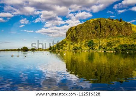 Beautiful view of the mountain lake in Scotland - stock photo