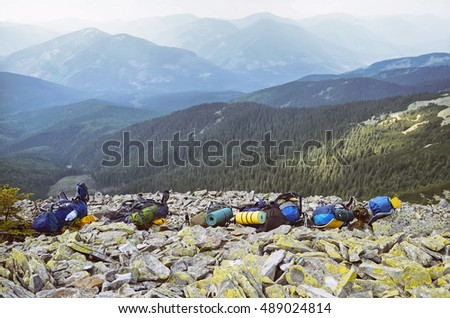 Beautiful view of the mountains .Many backpacks of hikers ,  Carpathian , Ukraine