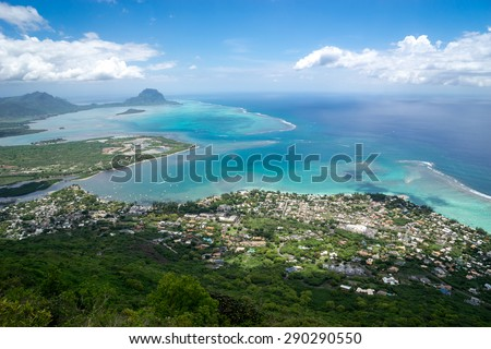 beautiful view of the ocean from a height of mountains on the island of Mauritius - stock photo
