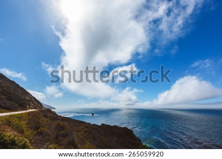 Beautiful view of the Pacific Ocean in California - stock photo