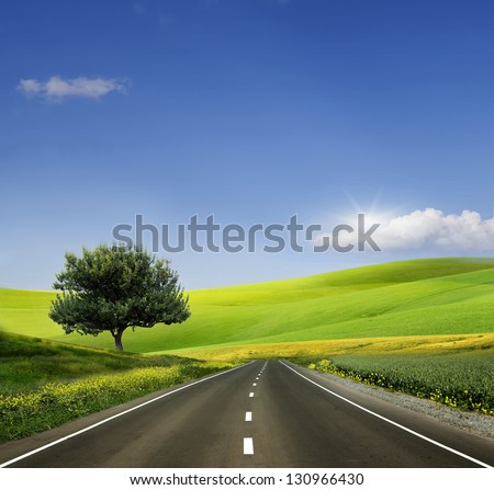 Beautiful view of the paved road - stock photo