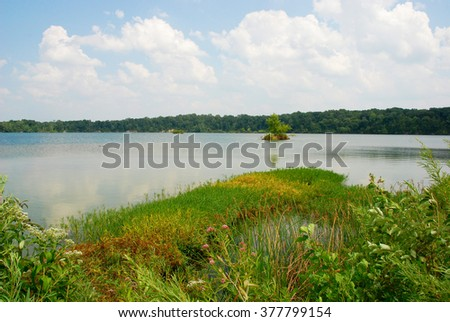 Beautiful view of the reservoir in Eagle Creek Park, Indiana, USA - stock photo