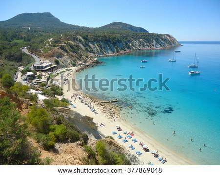 Beautiful view of the resort of Cala D'Hort, Ibiza, Balearic Islands - stock photo