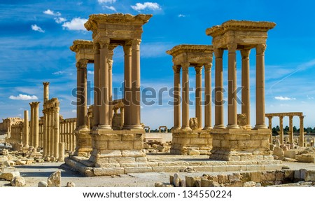 Beautiful view of the ruins in the desert of Syria, Palmyra