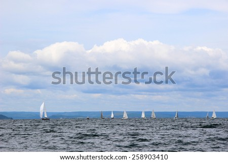 beautiful view of the sailboats in the sea - stock photo