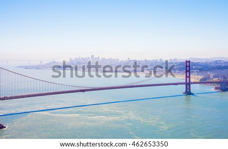 Beautiful view of the San Francisco Golden Gate bridge over the bay.