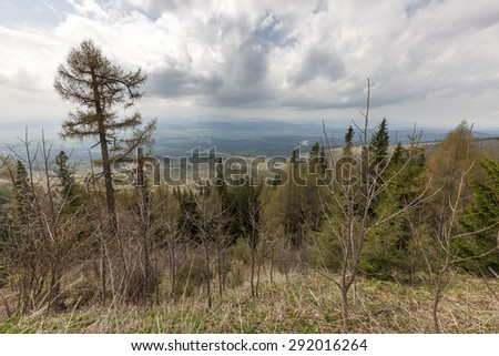 Beautiful view of the Slovakia mountains with cloudy sky