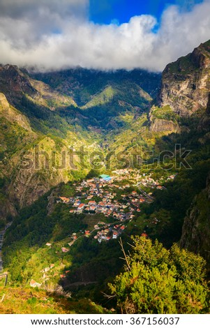 beautiful view of the small town Curral das Freiras, Madeira, Portugal