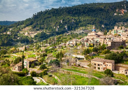 beautiful view of the small village Valldemossa in spring, Mallorca, Spain - stock photo