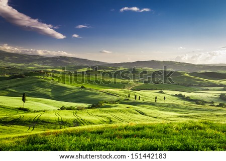 Beautiful view of the sunset over the valley in Tuscany