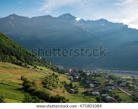 Beautiful view of the town of Mestia, Georgia (Europe)