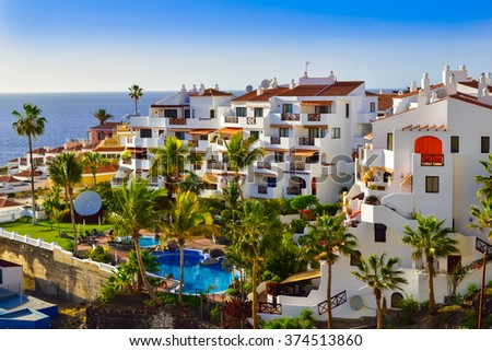 Beautiful view of the traditional architecture of Puerto de Santiago, in Tenerife , Spain - stock photo