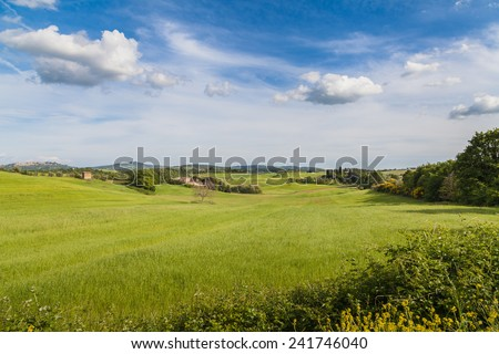 Beautiful view of the Tuscan hills in Val d'Orcia, near Pienza, Italy - stock photo