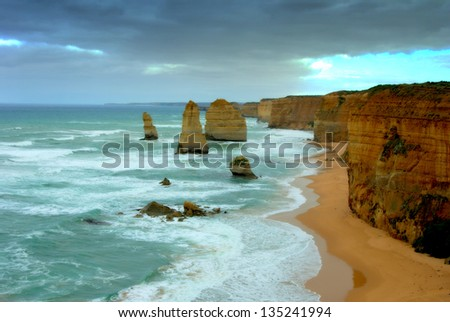 Beautiful view of the twelve apostles along the great ocean road in Melbourne australia - stock photo