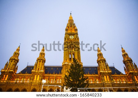 Beautiful view of the Vienna City hall in the evening, Vienna, Austria