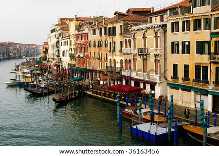 Beautiful view of the water street, Grand canal in Venice, Italy, from a bridge - stock photo