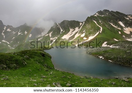 Beautiful view of the Zaggedan lakes in the Caucasus Mountains