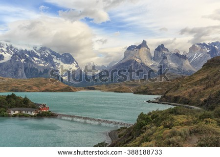 Beautiful view of Torres de Paine in Chile's Patagonia