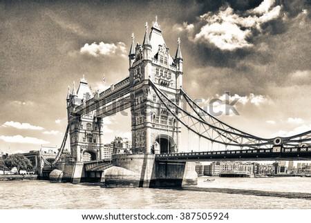 Beautiful view of Tower Bridge, London. - stock photo