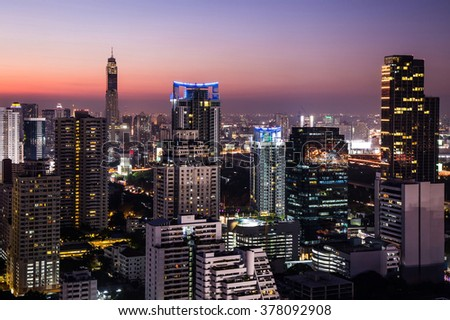 Beautiful view of urban, building and city in the twilight time. - stock photo