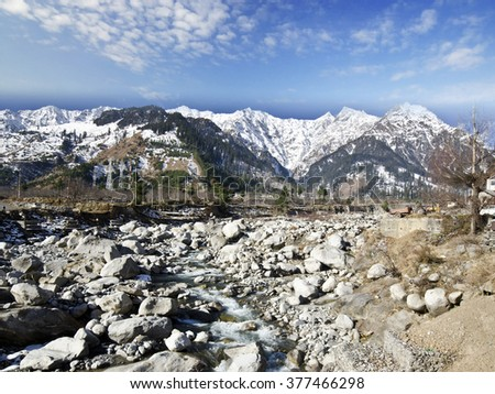 Beautiful view of valley on the way to solong - stock photo