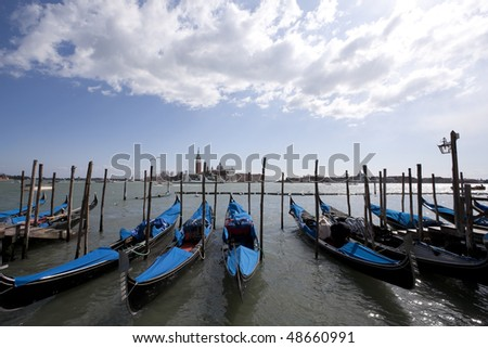 Beautiful view of venice traditional boats
