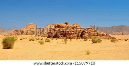 Beautiful view of  wadi rum desert in Jordan - stock photo